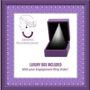 Areshna Jewelry - 3Pcs 2ct Lab Diamond Round Cut Engagement Ring